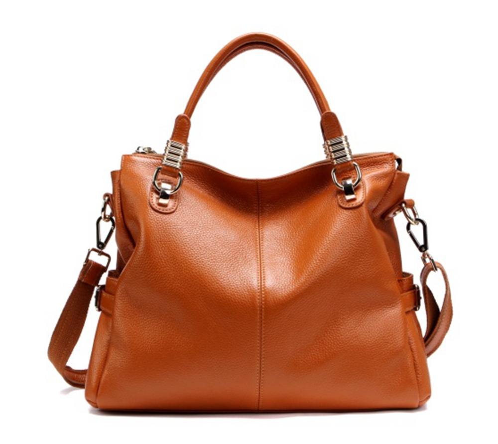 Woman Handbag 100% Real Genuine Leather Bag First Layer Cowhide Casual Tote Ladies Shoulder Crossbody Bag Black Woman Handbag(China (Mainland))