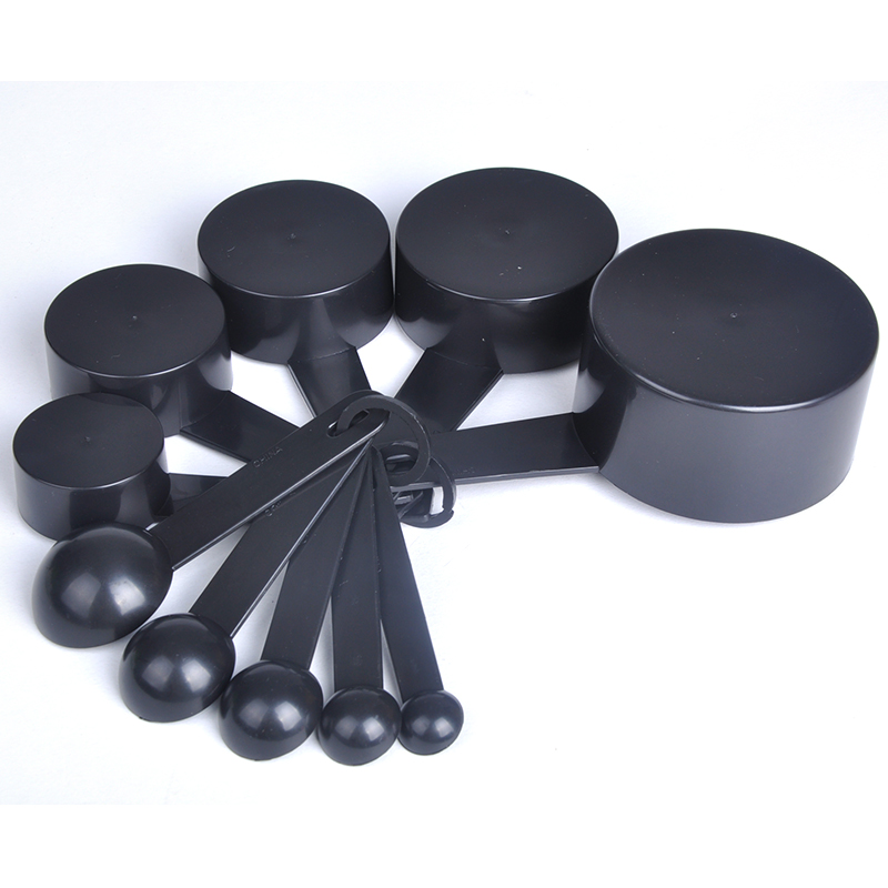 Black Plastic Measuring Spoons Cups Measuring Set Tools