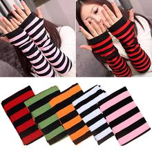 Women's Stripes Mitten Winter Knitted Wrist Arm Hand Warmer Fingerless GlovesHot!(China (Mainland))