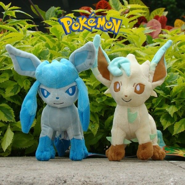 "2X Pokemon Plush Toy Leafeon & Glaceon 7"" Fluffy Eevee Stuffed Animal Doll(China (Mainland))"