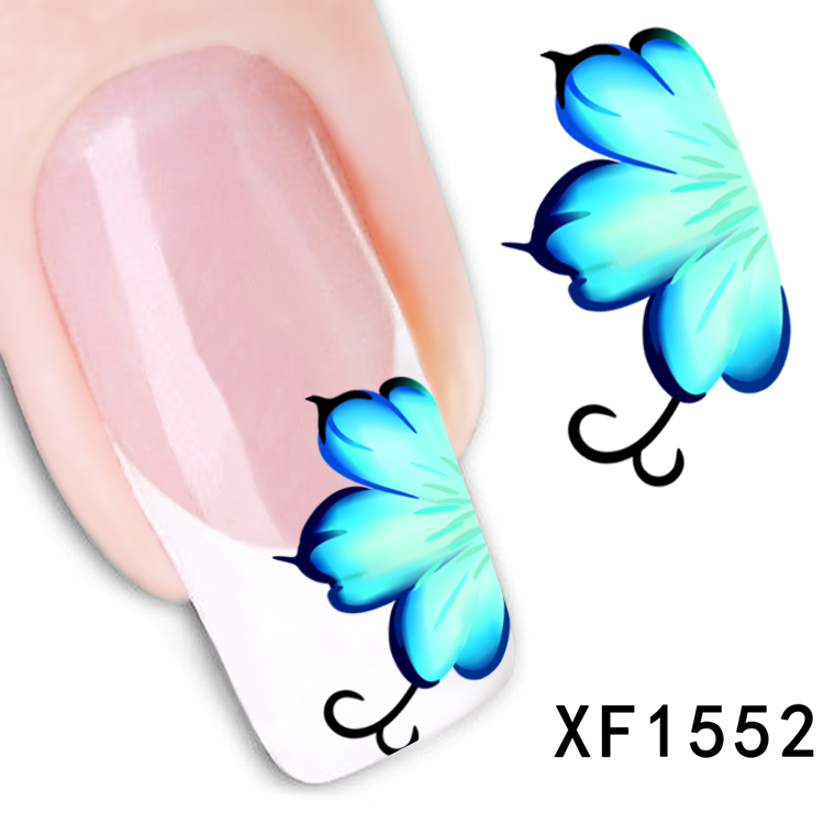 1 Sheet New Arrival Water Transfer Nail Art Stickers Decal Beauty Blue Flowers Design Manicure Tool (XF1552 D)(China (Mainland))