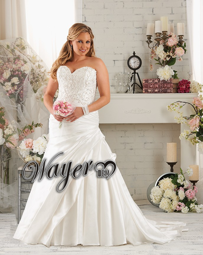 New Arrival Sweetheart A Line Embroidery Pin Up Plus Size Wedding Dress Beade