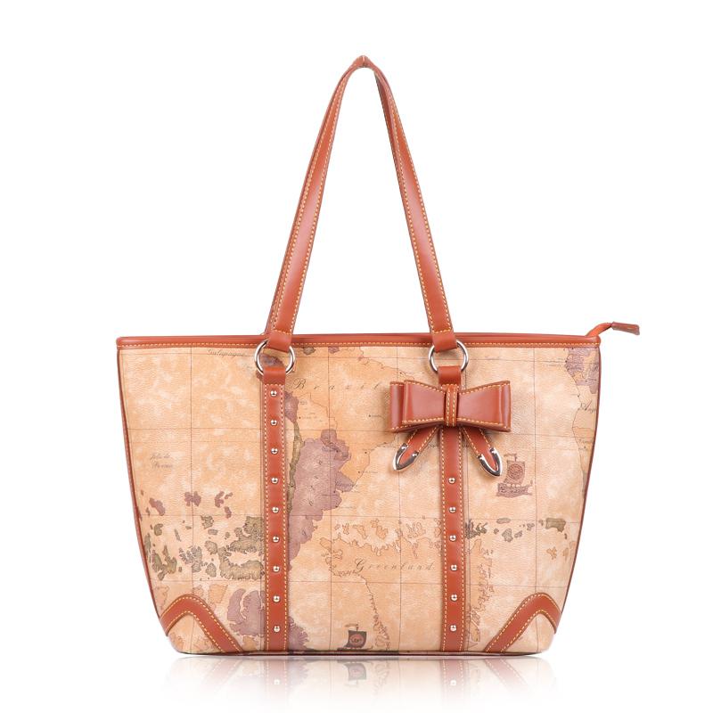 B.angel 2014 New arrival PVC brand designer elegant bow women's handbag shoulder bag map bag big bag 833(China (Mainland))