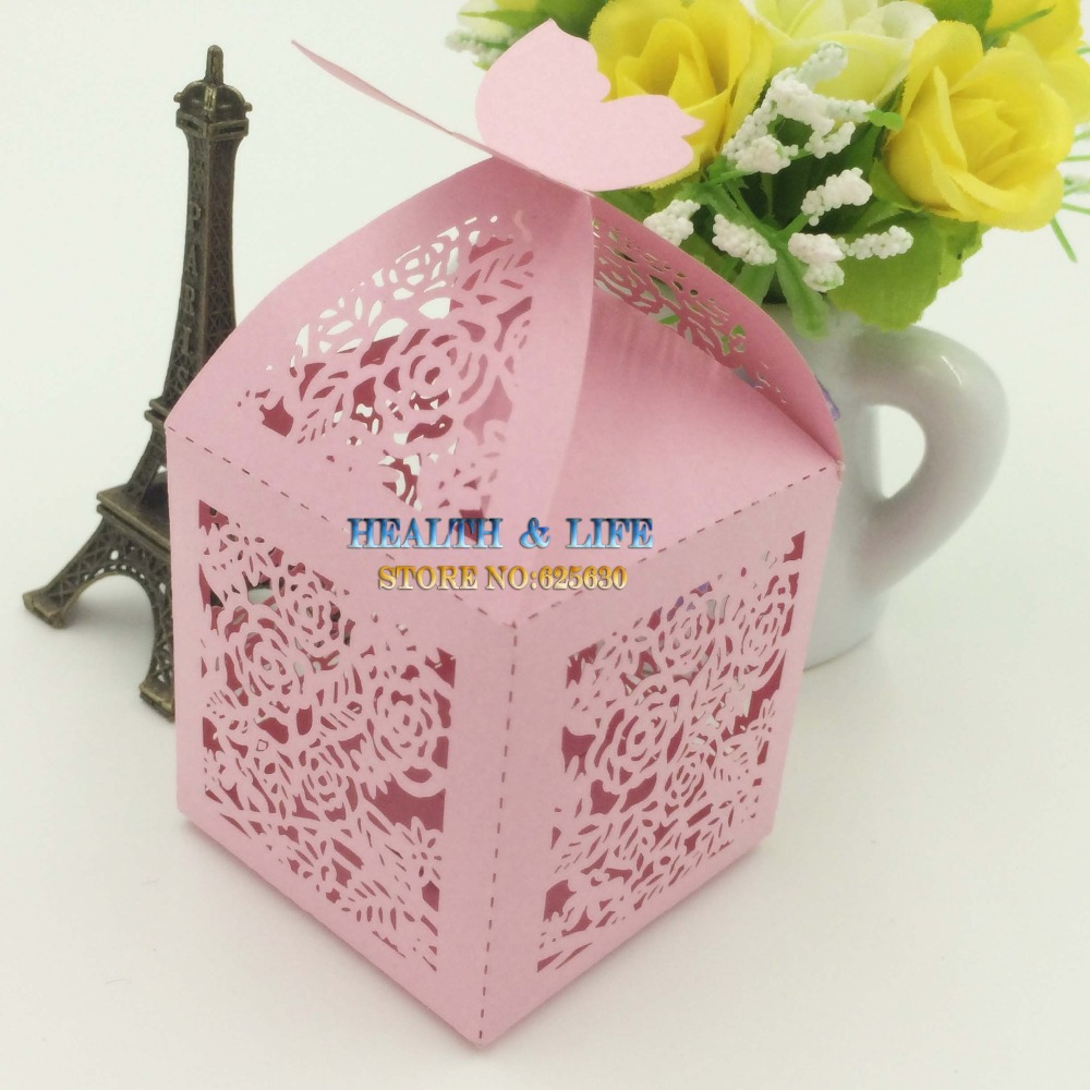 2015 Laser Cut Butterfly wedding box,rosy pink color flower party show candy favor box M size paper ,gift (with ribbon) - Health & Life store