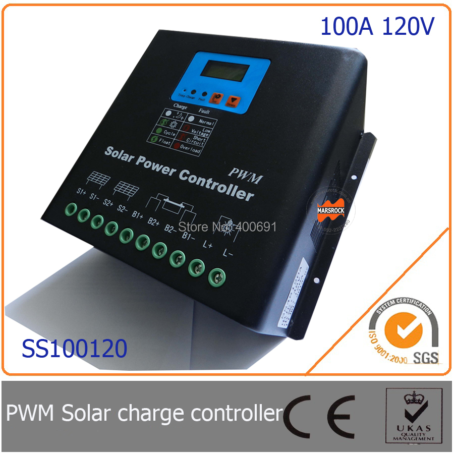 100A 120V PWM Solar Charge Controller with LED&LCD Display, Auto-Identification Voltage, MCU design with excellent performance(China (Mainland))
