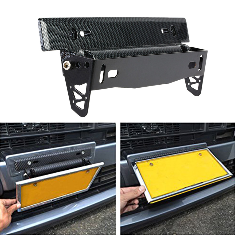 Universal Carbon Fiber Car License Plate Frame Holder Racing Number Plate Holder Adjustable Mount Bracket Accessory Car-Styling(China (Mainland))