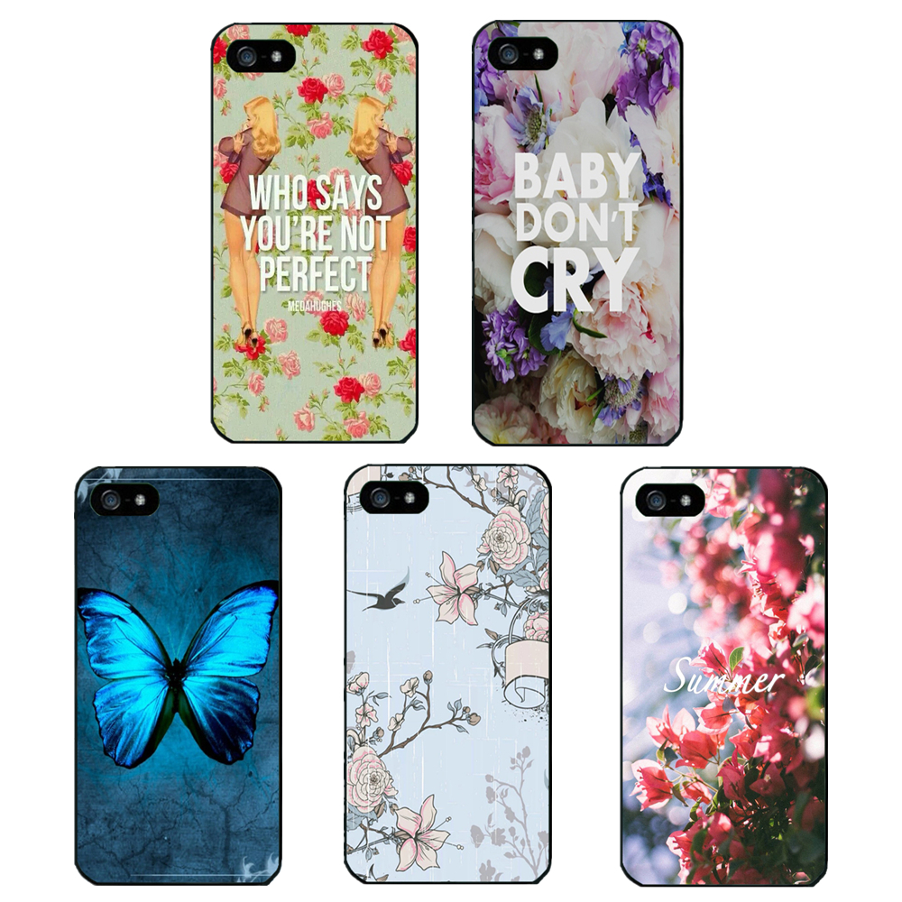 Car Covers Real 2015 Flower butterfly Shell Phone Cases for Iphone 4 4s 5 5s 5c 6 Case Back Cover Perfect for Protection(China (Mainland))