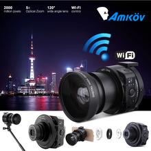 AMKOV AMK-OX5 Mini Selfie Lens-style Wifi Digital Camera Camcorder Full HD 1080P 30fps 20MP 4X digital 5X Optical Zoom PC Camera(China (Mainland))