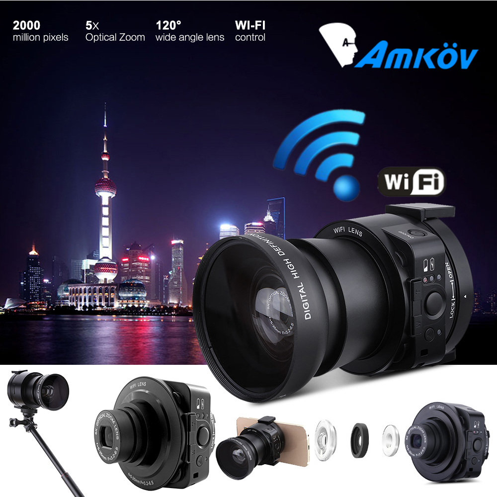AMKOV AMK-OX5 Mini Selfie Lens-style Wifi Digital Camera Camcorder Full HD 1080P 30fps 20MP 4X digital 5X Optical Zoom PC Camera(China (Mainland))