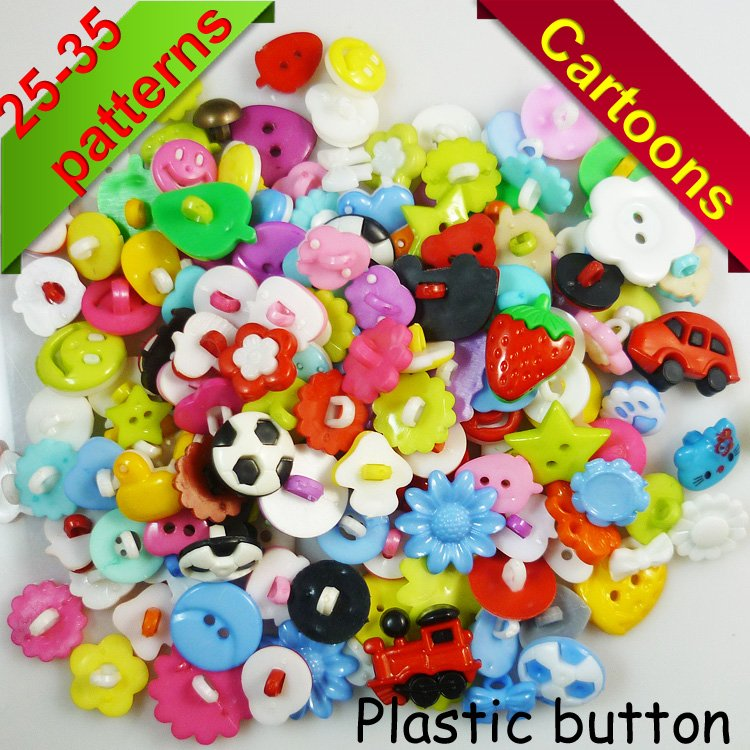 150PCS mixed color MIXED PATTERN plastic cartoons cloth buttons jewelry accessory P-029(China (Mainland))