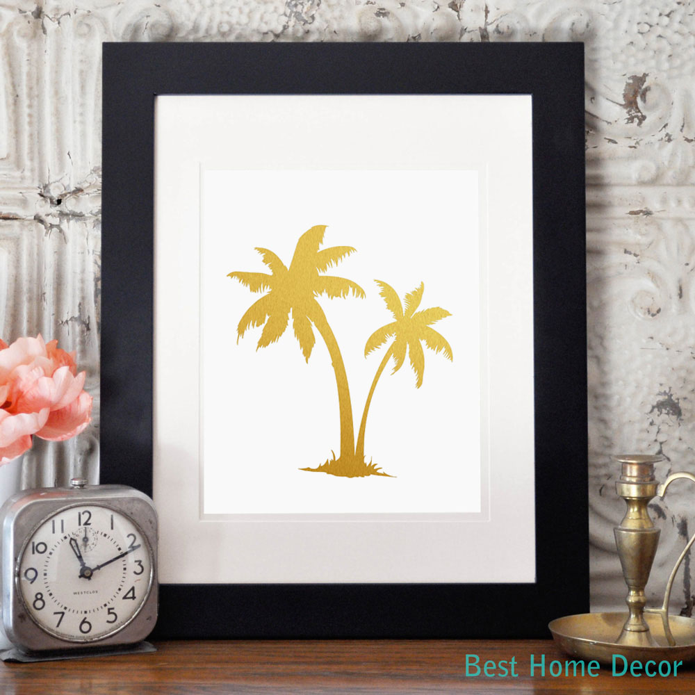 Palm Tree Gold Foil Decor Wall Art Print Island Tropical Art Metallic Poster Without Frame AP027(China (Mainland))