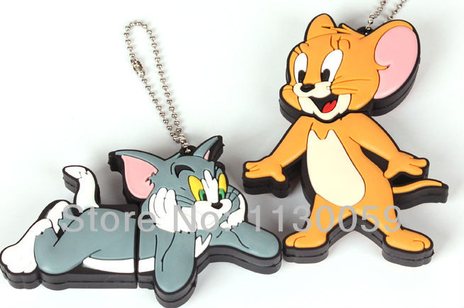 100% real capacity plastic cat and mouse model usb8GB 16G 32GB USB Flash Memory Drive Stick Pen/Thumb/Car USBS101(China (Mainland))