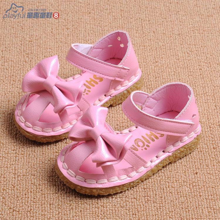 Бесплатная доставка детские сандалии 2015 ребенок сандалии мягкая подошва с бантом вырез девочка сандалии туфли принцессы малыша