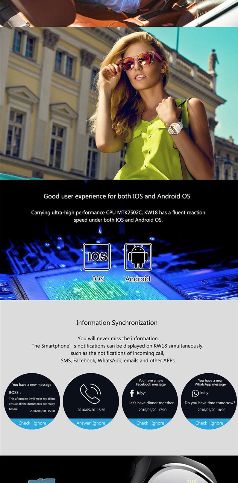 Bluetooth KW18 Смарт Часы Подключен Наручные Часы для Samsung HTC Huawei LG Xiaomi Android Смартфонов Поддержка Синхронизации Вызовов Messager