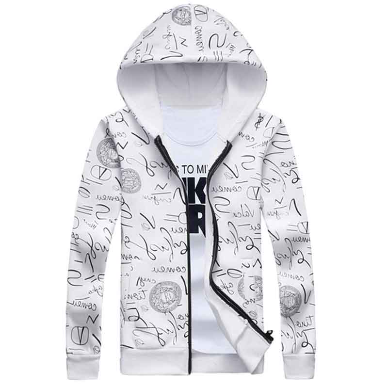 2016 Hoodies Men Zippers Mens Tracksuit Sweatshirts Male Hoodies Fashion printed graffiti round collar fleece(China (Mainland))