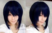 Heat Resistant Cosplay party TJ *****Dark blue mixed black anime role-playing wig cosplay blue-black short peruca hair q - meiyan gan's store