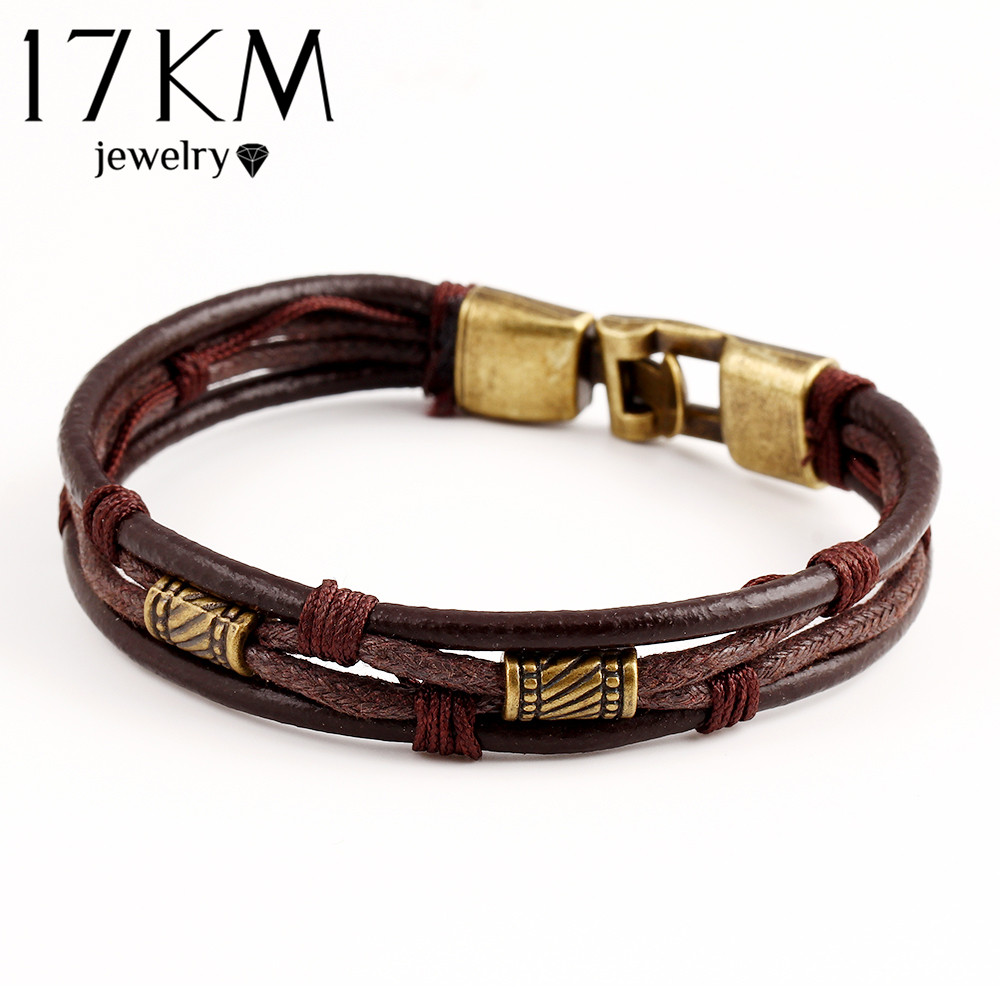 17KM Genuine Leather Women Man Bracelets Unisex Casual/Sporty Multi-Layer Alloy Hook Link Chain Christmas Holiday Bracelet(China (Mainland))