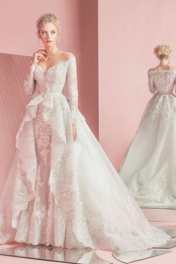 2015 vintage lace wedding dresses off the shoulder long for Vintage off the shoulder wedding dresses