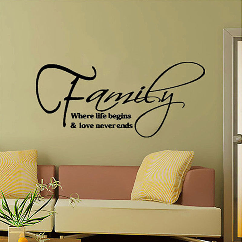 High Quantity PVC Nice Art Word Wall Stickers Home Shop Decoration Removable Sticker DIY Family Never End(China (Mainland))