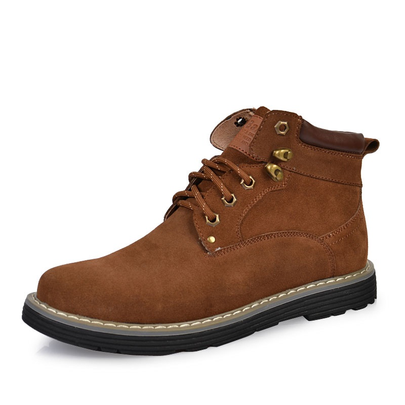 Фотография High Quality 2016 men Casual shoes Genuine Leather Boots With Fur Oxfords shoes Men Ankle Martin winter boots Outdoor Work Shoes