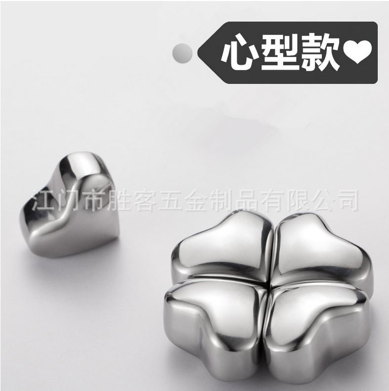 Heart, StainlessSteel304 Whisky Stones, Metal Ice Stones, Whiskey Cooler Rocks, decent gifts, 1pc/8pcs box choice(China (Mainland))