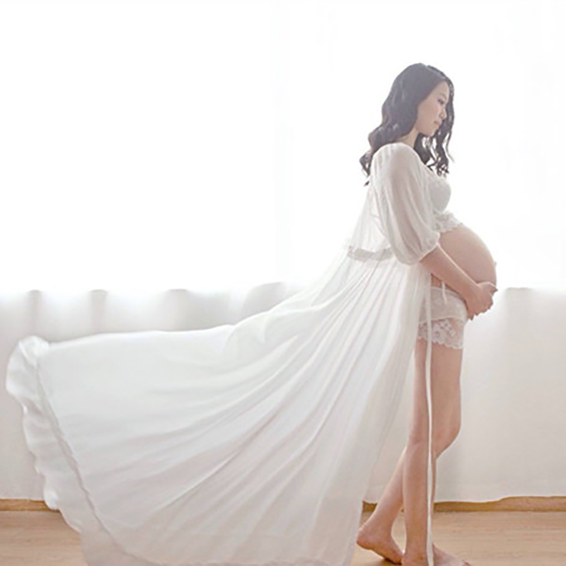 Royal Style White Maternity Lace Dress Pregnant Photography Props Fancy Pregnancy maternity photo shoot long dress Nightdress