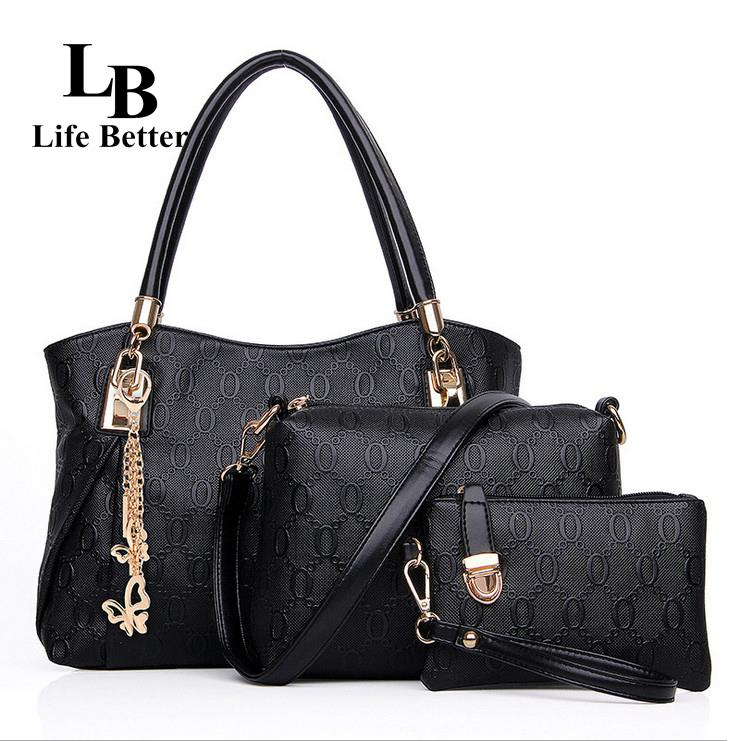 2015 Handbags Buy 1 Get 3 Pieces Letter Composite Bag 4 colors PU Women Shoulder Cross body Bag Handbag+Messenger Bag+Purse LB61(China (Mainland))
