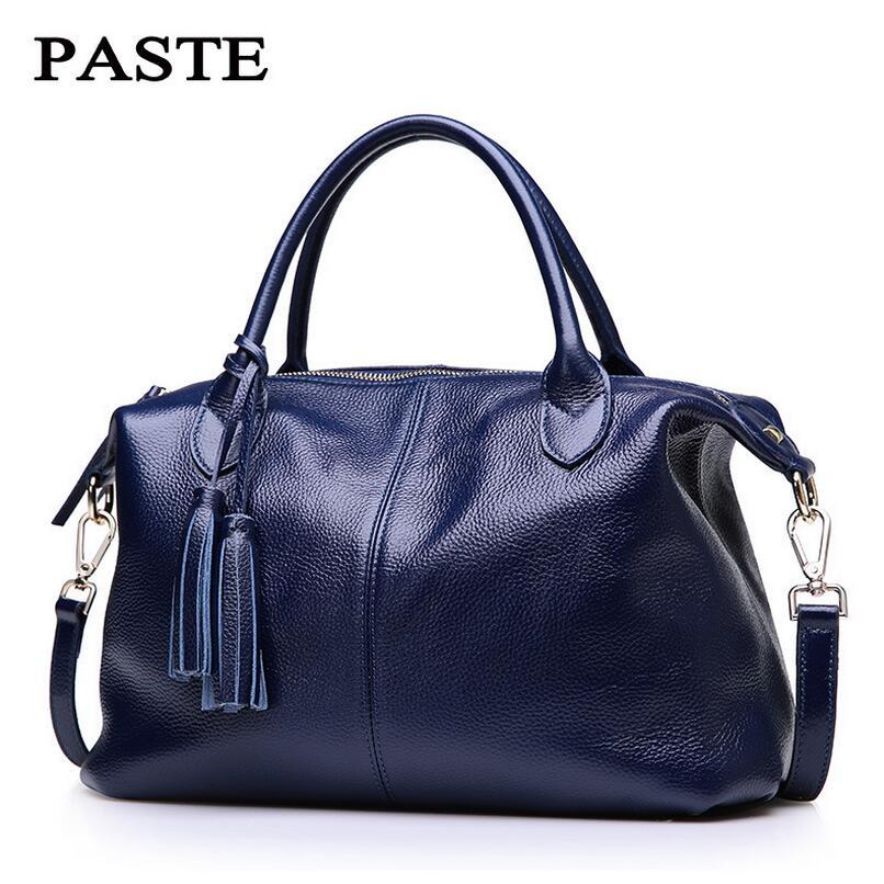 PASTE Tassel Design Soft Genuine Leather Bags Women Real Cow Leather Handbag Ladies Shoulder Crossbody Bag Famous Brand<br><br>Aliexpress