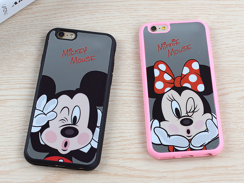 6 & 6s Newest Fashion Mickey Minnie Mouse Mirror Case For iPhone 6 6s 6 Plus 5 5s SE Case Back Cover Fundas Coque