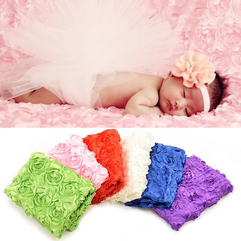 Newborn 3D Rose Photography Background Cloth Children Photography Props Baby Photo Studio Shooting Blankets(China (Mainland))