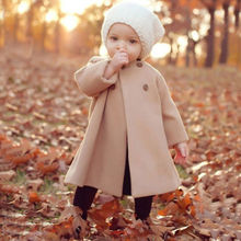 Cute Kids Beige Winter Children Long A-shaped Coat KIDS Outwear Trench(China (Mainland))