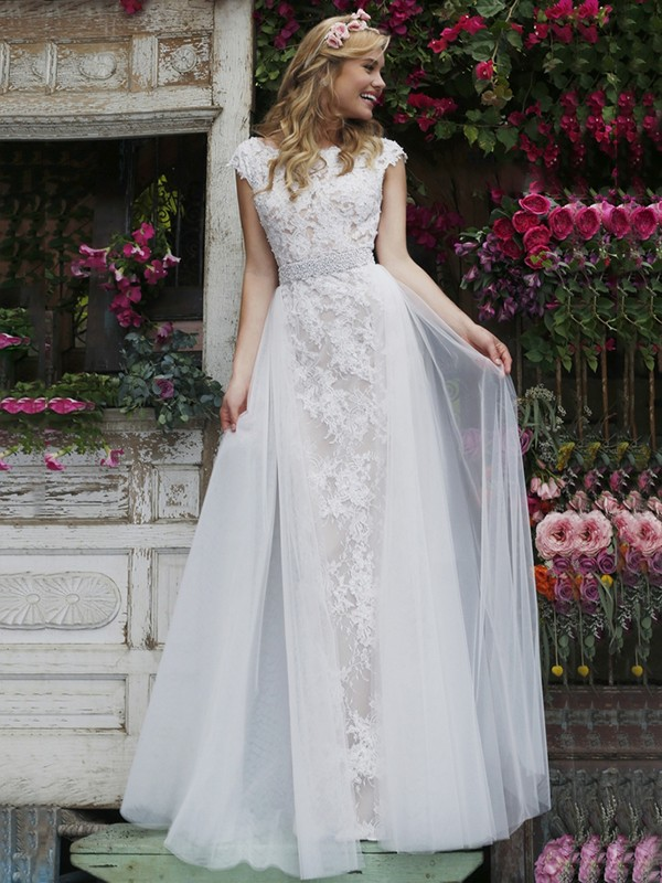 Lace Wedding Dress With Cap Sleeves Style D1919 : New style cap sleeves lace wedding dresses scoop sheath column