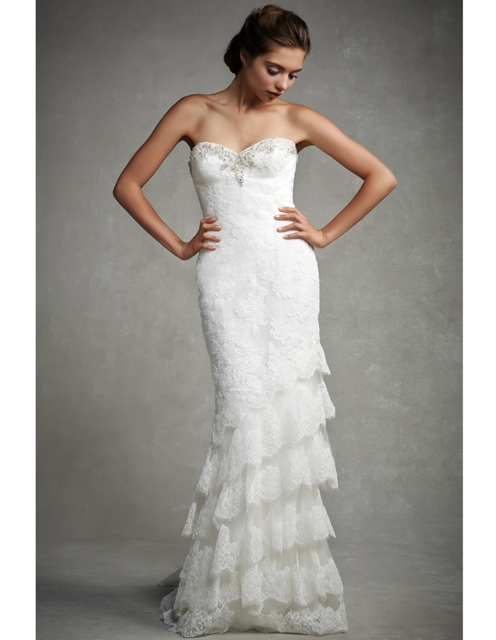Elegant sweetheart ruffles mermaid wedding dress backless for Wedding dresses with ruffles