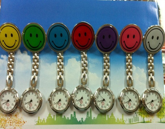 free shipping 10PCS/lot wholesale hot sales cute discount price smile nurse alloy Stainless steel watch women chest pocket watch<br><br>Aliexpress
