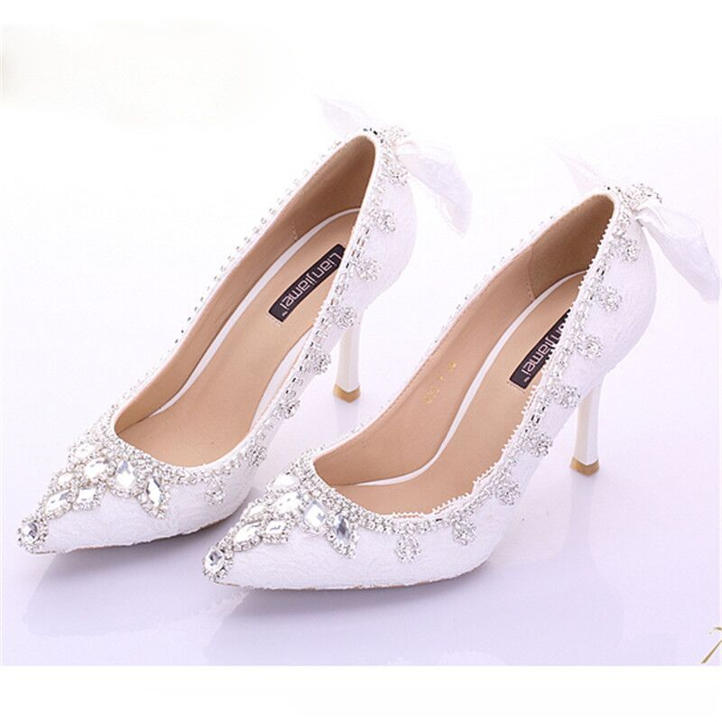 hot sale Euramerican style of new white diamond crystal bride shoes lace bowknot elegant sweet fine with high heels pumps<br><br>Aliexpress