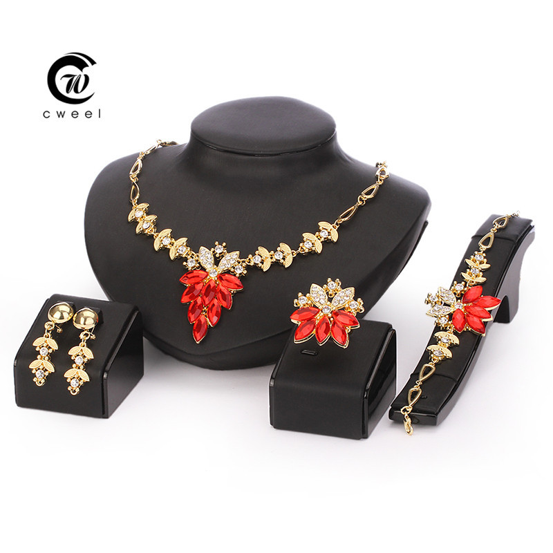 Wedding Dress Accessories Costume Women Party Gold Plated African Beads Jewelry Sets Crystal Cross Necklace Bangle Earrings Ring(China (Mainland))