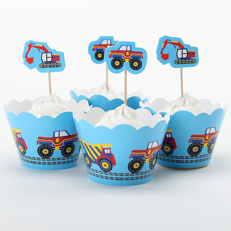 Car and Excavator Cupcake Wrapper For Children Birthday Party Decorations Kids Boy Cupcake Toppers Cheap Christmas Ornament(China (Mainland))