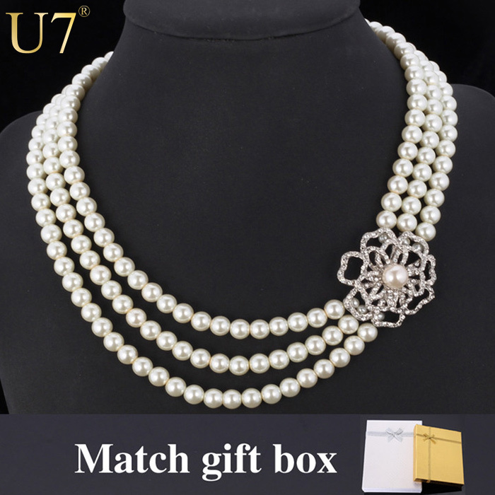 Pearl Choker Necklace 2015 Trendy Platinum Plated Rhinestone Flower Women's Fashion Jewelry Wholesale 50 cm Pearl Necklaces N371(China (Mainland))