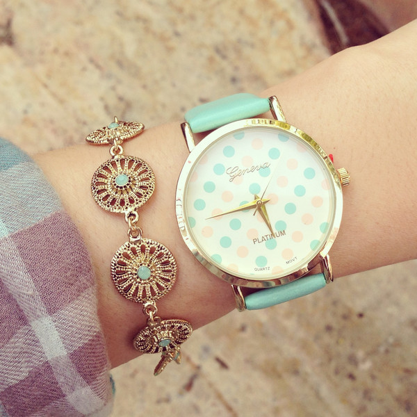 Original fashion multi color polka dot print watch leather watch hot selling quartz casual watch relojes