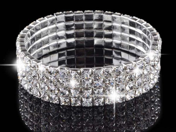 4 Row Wedding Bridal Crystal Multicolor Diamante Rhinestone Stretch Fashion Bracelet Bangle Charm Jewelry Free(China (Mainland))