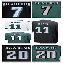 Best quality jersey,Men's 11 Carson Wentz 20 Brian Dawkins 43 Darren Sproles elite jerseys,White,Green,Black,Size 40-56(China (Mainland))