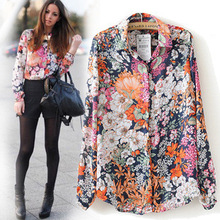 SZ060 New 2015 Spring Summer Vintage Floral Print Shirt Women's Long Sleeve Fashion Chiffon Blouses Tops Blusas Femininas S&Z(China (Mainland))