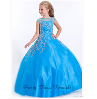 2014 High Quality Beaded Accent Capped Sleeve Soft Tulle Perfect Angels Pageant Dress Flower Girl Dresses Custom Made