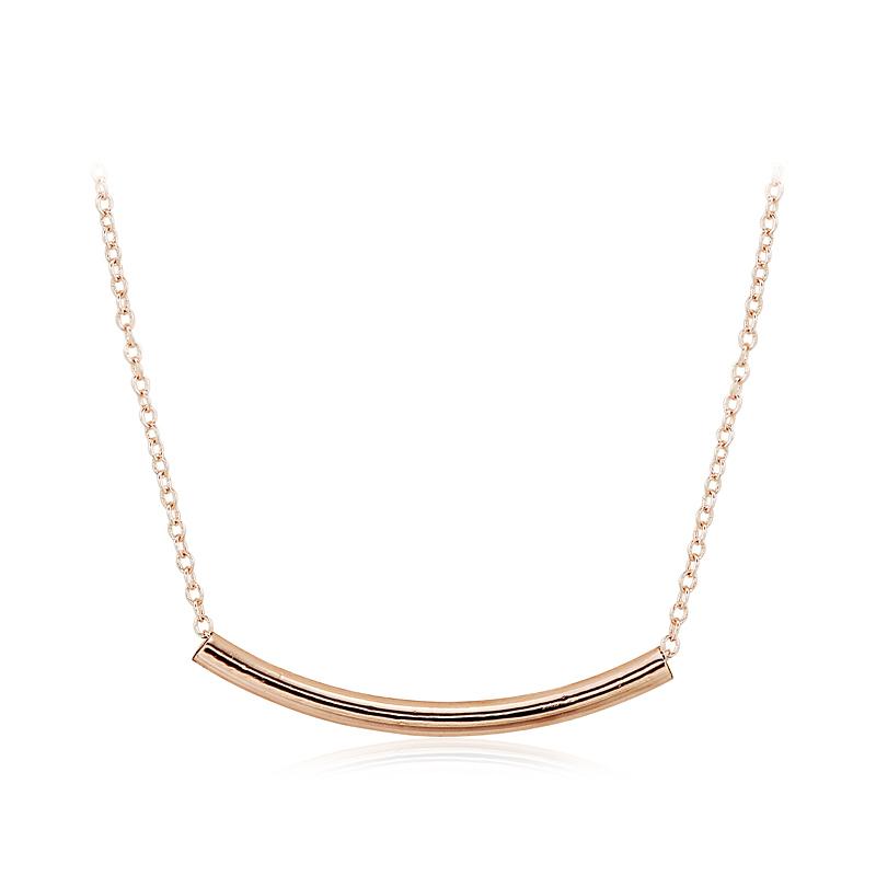 2015 New Design Fashional Tube Shape Metal Pendant Platinum Plated Golden Tube Necklace(China (Mainland))