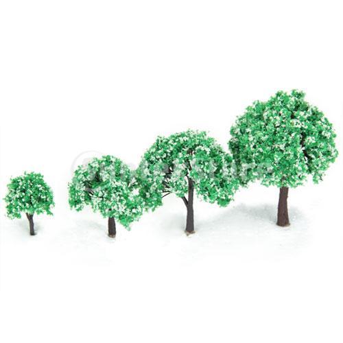 Гаджет  New 2014 Brand New 4pcs 1.6 inch - 3.94 inch Scenery Landscape Model Trees w/ White Flowers  None Строительство и Недвижимость