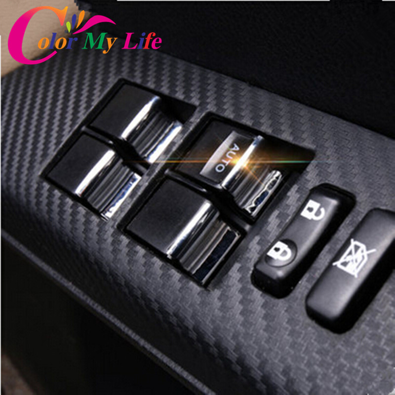 Car Windows Lift Switch Sticker Door Button Interior Chrome Trim Cover Decoration Accessories For Toyota Corolla RAV4 2014 2015+(China (Mainland))