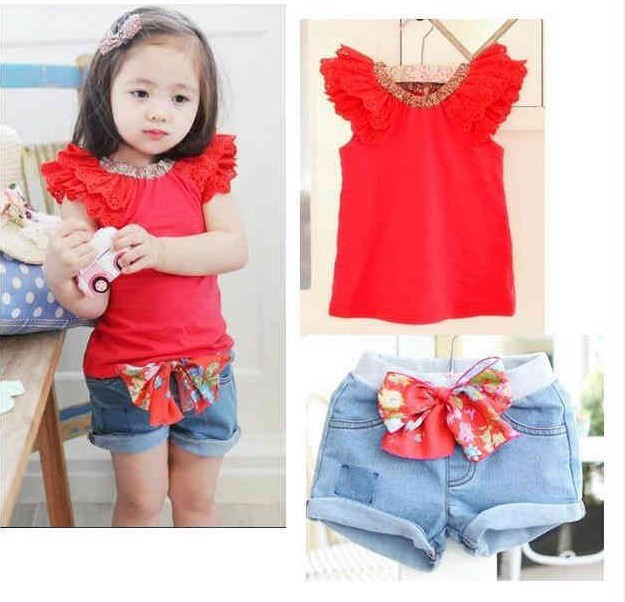 2015 Summer Style Girls Kids Ruffled Sleeves T-shirt Bowknot Pants Set Clothes Girls Outfit Sz 2-6Y Free Shipping&Drop Shipping(China (Mainland))