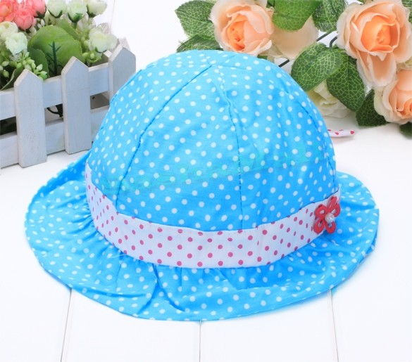 Cotton Summer 2015 Baby Cap Infant Sun Hat 44-46cm 3~24 Months Polka Dot Print 24(China (Mainland))
