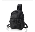 Edgy Rivet studded Backpack Fashion Dual purpose Bag Trendy New Casual Sheepskin Bag Small Chest Bag