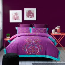 Wholesale of 2014 100% cotton satin embroidery bedding set purple duvet cover flat sheet bed linen/quilt cover sets(QX303)